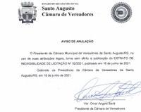 AVISO DE ANULAÇÃO DE EXTRATO DE INEXIGIBILIDADE DE LICITAÇÃO
