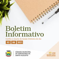 SESSÃO ORDINÁRIA DE 02 DE AGOSTO DE 2021