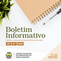 SESSÃO ORDINÁRIA DE 05 DE JULHO DE 2021