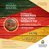 SESSÃO SOLENE PARA ENTREGA DA COMENDA ITALVINO SPEROTTO